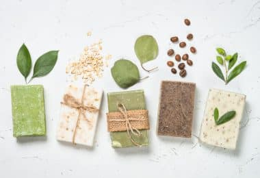 Natural soap bars on white top view (Soap making kits for beginners)