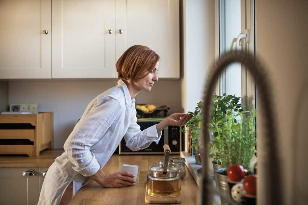 Want to start a garden but don't have the time to manage lots of outdoor plants? Check out our resources and info on indoor gardening supplies! (Image: A young woman with cup of coffee standing indoors in kitchen, looking at plant.)
