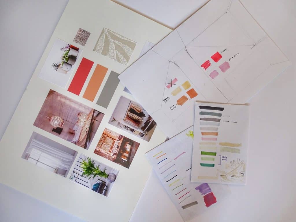 Image shows a mood board with various pictures of rooms and colors for interior design inspiration.
