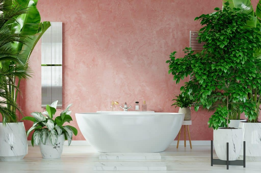 Image shows the modern interior of a bathroom. A bathtub sits in the middle, against a pink wall, with lots of greenery to the sides.